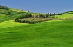 Opinião aérea de Toscânia do tempo do zangão na primavera Verde, Italia foto de stock royalty free