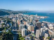 Opinião aérea de Wellington New Zealand CBD imagem de stock