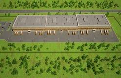 Opinião aérea do armazém exterior Foto de Stock Royalty Free