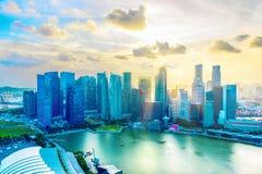 Opinião aérea do núcleo do centro de Singapura fotografia de stock