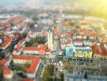 Opinião (aérea) do olho do pássaro de Jena, Alemanha, no por do sol imagens de stock