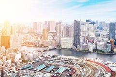 Opinião aérea do olho moderno panorâmico do pássaro da construção da arquitetura da cidade da baía de Odaiba e da ponte do arco-í Fotos de Stock