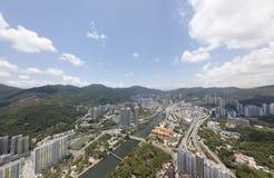 Opinião aérea do panarama em Shatin, Tai Wan, Shing Mun River em Hong Kong Fotos de Stock Royalty Free