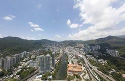 Opinião aérea do panarama em Shatin, Tai Wan, Shing Mun River em Hong Kong Foto de Stock
