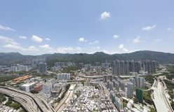 Opinião aérea do panarama em Shatin, Tai Wan, Shing Mun River em Hong Kong Imagens de Stock