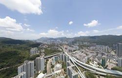 Opinião aérea do panarama em Shatin, Tai Wan, Shing Mun River em Hong Kong Imagem de Stock