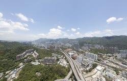 Opinião aérea do panarama em Shatin, Tai Wan, Shing Mun River em Hong Kong Fotos de Stock