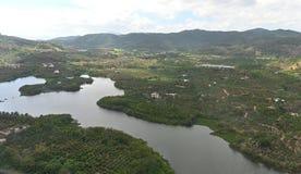 Opinião aérea do panorama da ilha de Hainan Ilha de China Hainan, cidade de Sanya fotos de stock