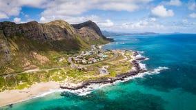 Opinião aérea do Seascape da praia do ponto de Makapuu fotos de stock
