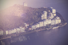 Opinião aérea do vintage Rio de janeiro, Brasil Fotos de Stock Royalty Free