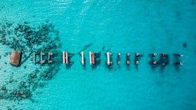 Opinião aérea do zangão da ilha de Saona em Punta Cana, República Dominicana foto de stock royalty free