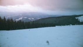 opinião aérea do zangão 4K: Feriados em Ski Resort Bukovel video estoque