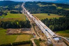 Opinião aérea do zangão na construção da estrada Imagem de Stock Royalty Free