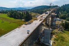 Opinião aérea do zangão na construção de estradas Imagem de Stock