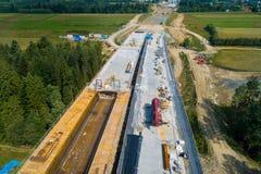Opinião aérea do zangão na construção de estradas Imagens de Stock Royalty Free
