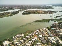 Opinião aérea do zangão do niarela Quizambougou Niger Bamako Mali imagens de stock royalty free