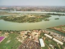Opinião aérea do zangão do niarela Quizambougou Niger Bamako Mali Imagem de Stock