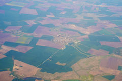 Opinião aérea dos campos coloridos Imagens de Stock