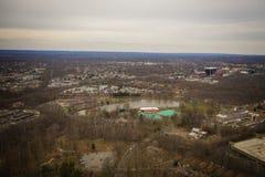 Opinião aérea Edison New Jersey Showing NYC no fundo fotografia de stock royalty free