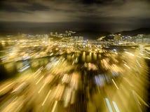 Opinião aérea Hong Kong Night Scene, Kwai Chung na cor dourada Foto de Stock