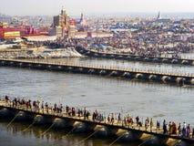 Opinião aérea Kumbh Mela Festival em Allahabad, Índia Fotos de Stock Royalty Free