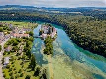 Opinião aérea o Rheinau Abbey Islet Foto de Stock