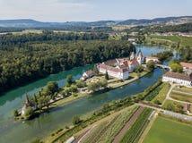 Opinião aérea o Rheinau Abbey Islet, Suíça Imagem de Stock Royalty Free