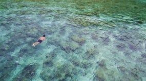 Opinião aérea o turista caucasiano que mergulha na água e nos recifes de corais de cristal de turquesa perto da ilha de Perhentia fotografia de stock royalty free
