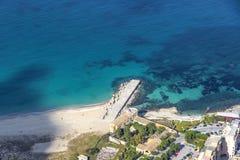 Opinião aérea o Vergine Maria Beach em Palermo, Sicília, Itália Fotografia de Stock
