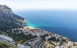 Opinião aérea o Vergine Maria Beach em Palermo, Sicília, Itália Imagem de Stock Royalty Free