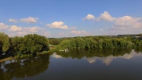 Opinião aérea os noivos perto do rio e dos barcos vídeos de arquivo