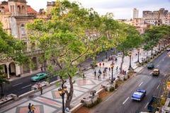 Opinião aérea Paseo del Prado, Havana imagens de stock royalty free