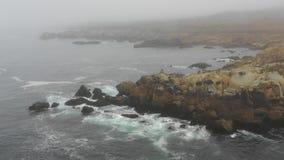 Opinião aérea Rocky Coastline de Califórnia do norte e de névoa vídeos de arquivo