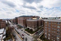 Opinião aérea Saint Paul Street em Charles Village em Baltimore fotografia de stock royalty free