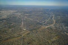 Opinião aérea Santa Fe Springs, Bellflower de Norwalkm, Downey, vi imagem de stock royalty free