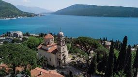 Opinião aérea Savino Monastery em Herceg Novi, Montenegro fotografia de stock