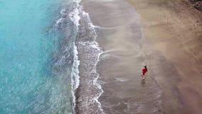 Opinião aérea uma menina em um vestido vermelho que anda na praia com areia preta Tenerife, Ilhas Canárias, Spain video estoque