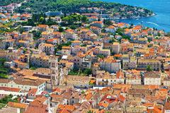 Opinião aérea velha de centro de cidade de Hvar Fotografia de Stock
