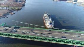 Opinião aérea Walt Whitman Bridge Philadelphia NJ filme