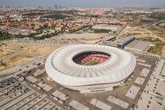 Opinião aérea Wanda Metropolitano Stadium no Madri fotografia de stock royalty free