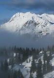 Opinião alpina da cabana Fotografia de Stock