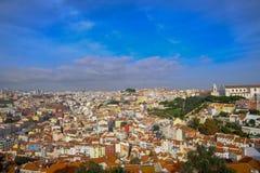 Opinião alta colorido de Lisboa imagens de stock royalty free