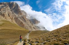 Fuga alta Corno Gran grandioso Sasso L'Aquila Italia Fotos de Stock