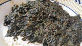 A opinião ascendente próxima as folhas ou vegetais frescos tradicionais deliciosos dos espinafres cozinhou o prato, alimento deli fotografia de stock royalty free