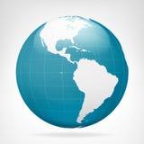 Opinião azul da terra de América isolada Fotos de Stock