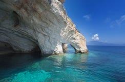 Opinião azul famosa das cavernas na ilha de Zakynthos Fotografia de Stock Royalty Free