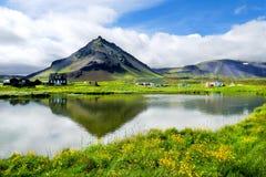 Opinião bonita da aldeia piscatória de Arnarstapi imagens de stock