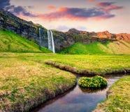 Opinião bonita da manhã da cachoeira de Seljalandfoss em Seljalandsa fotografia de stock