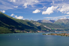 Opinião bonita da natureza do lago Como, Italy Foto de Stock Royalty Free