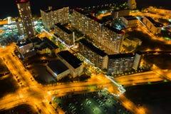 Opinião bonita da noite da arquitetura da cidade de Osaka de Osaka em Japão vista da torre do cosmo fotos de stock royalty free